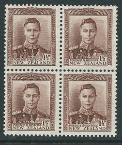 NEW ZEALAND 1938-44 GVI 1½d Brown block of 4 MNH SG cat £104............60310