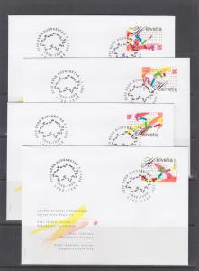 Switzerland Sc 1012-1015 FDC. 1998 Swiss Bicentennial, cplt set in singles on 4