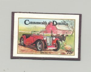 Dominica #813 Automobiles, Cows, Chickens 1v Imperf Proof Mounted on Card