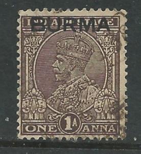 Burma # 4  King George V - 1 anna (1)  VF Used