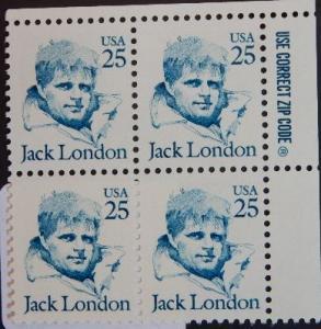 2182 25c Jack London, Blk of 4, Stock Photo