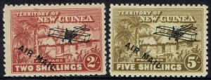 NEW GUINEA 1931 HUT AIRMAIL 2/- AND 5/-