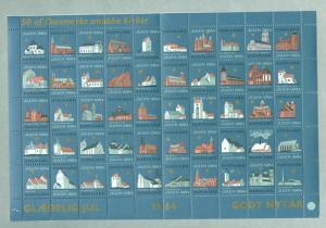 Denmark. Christmas Sheet 1964. Mnh. Folded. 4 Sides Perforat. 50 Danish Churches