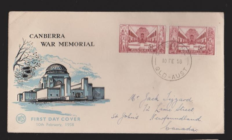 AUSTRALIA Scott # 309a On FDC Canberra War Memorial WCS Thermal Cachet