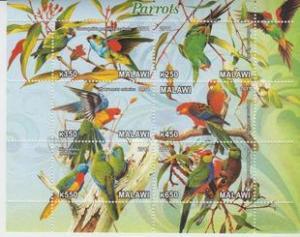 Malawi 2011 M/S Birds Animals Fauna Parrots Nature Bird Plants Parrot Stamps MNH