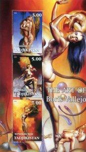 Tajikistan 2002 THE ART OF BORIS VALLEJO Pop Art Nudes s/s Perforated Mint (NH)