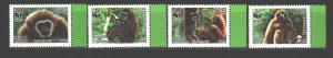 Laos. 2008. 2062-65. WWF Monkeys. MNH.