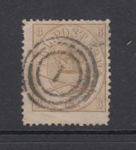 Denmark Sc 14 used 1868 8s Royal Emblems, thin speck