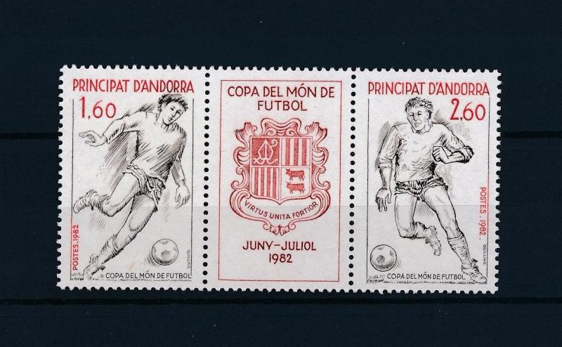 [59313] French Andorra 1982 World Cup Soccer Football Spain Strip of three MNH