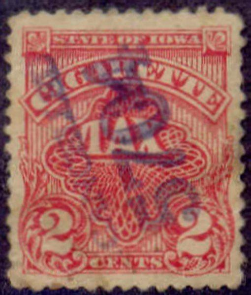 Iowa State Revenue Stamp 2c Cigarette Tax # C12