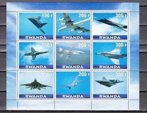 Rwanda, 2000 Cinderella issue. Jet Planes sheet of 9.