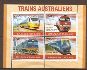 TOGO 2011 AUSTRALIAN TRAINS S/S (NO1) MNH
