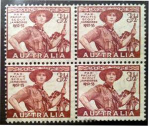AUSTRALIA (1952) Sc#249 PAN PACIFIC SCOUT JAMBOREE BLK 4 MNH