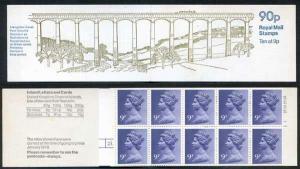 FG3a QEII 90p Booklet LM Cylinder 25 Dot/28