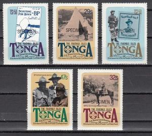 Tonga, Scott cat. 504-508. 75th Anniversary of Scouting. Specimen o/print. ^