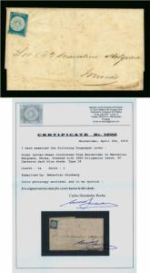 URUGUAY 1856  DILIGENCIAS  60c dark blue  Scott #1a on cover to Marcelino - RARE