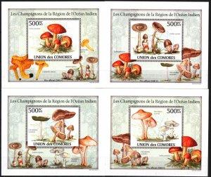 {094} Comoros 2010 Mushrooms 4 S/S Deluxe MNH**