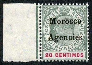Morocco Agencies SG26 20c Grey-green and Carmine wmk Mult Crown CA U/M