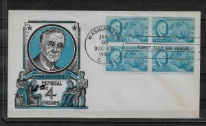 US Cachet FDC block 1946 in Memory of Franklin D. Roosevelt ,VF !! (RN-6)