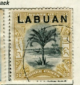 NORTH BORNEO LABUAN; 1897 classic Pictorial issue used 3c. value