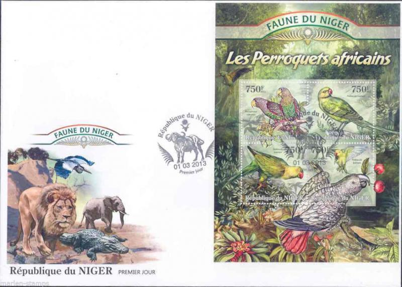 FAUNE OF NIGER 2013  PARROTS  SHEET  FIRST DAY COVER