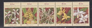 Christmas Island # 363, Orchids, Strip of Five Different, NH, 1/2 Cat.