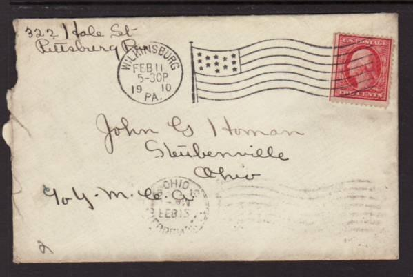 Wilkinsburg PA 1910 Flag Cancel  Cover