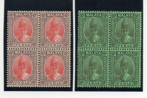 Malaysia - Perak 1938-41 40c and 50c MNH blocks of 4