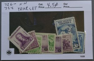 United States #726-734 1933 Issues Year Set MNH