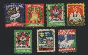 United States MINT 7 LOUISIANA CHRISTMAS SEALS -  BARNEYS