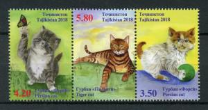 Tajikistan 2018 MNH Domestic Cats Persian Tiger Cat 3v Strip Pets Stamps