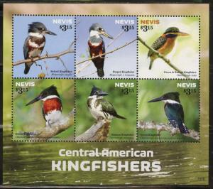 NEVIS  2015  CENTRAL AMERICAN KINGFISHERS  SHEET MINT NH