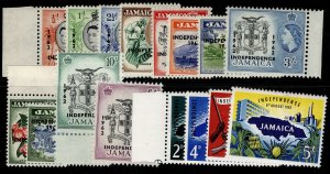 JAMAICA QEII SG181-196, complete set, VLH MINT. Cat £40.