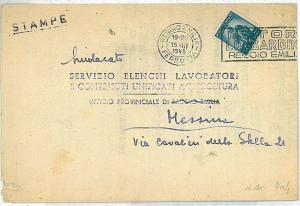 AUTO CARS : POSTAL HISTORY automatic postmark on COVER: ITALY 1949 REGGIO EMILIA