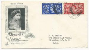 Great Britain Scott #313-314 First Day Cover to USA 1953