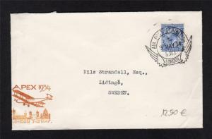 1934 AIR POST EXHIBITION CACHET + CANCEL ON COVER