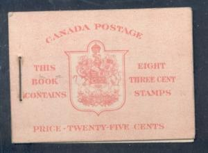 Canada 1942 Bk 34c English (251a x 2) cpl booklet mint NH