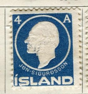 ICELAND;  1911 early Sigurdsson issue fine used 4a. value