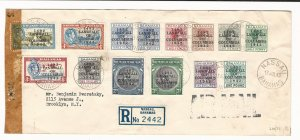 Bahamas July 1943 Censored Registered Airmail Cover - Complete 1942 Columbus Set