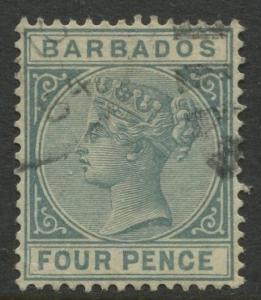 Barbados - Scott #64 -  QV - 1882 - FU - Single 4p Stamp