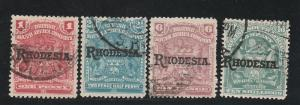 RHODESIA 1909 ARMS OVERPRINTED RANGE TO 10/-