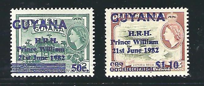 Guyana Scott #540 & 542, WMK 314 upright, Unused Never Hinged