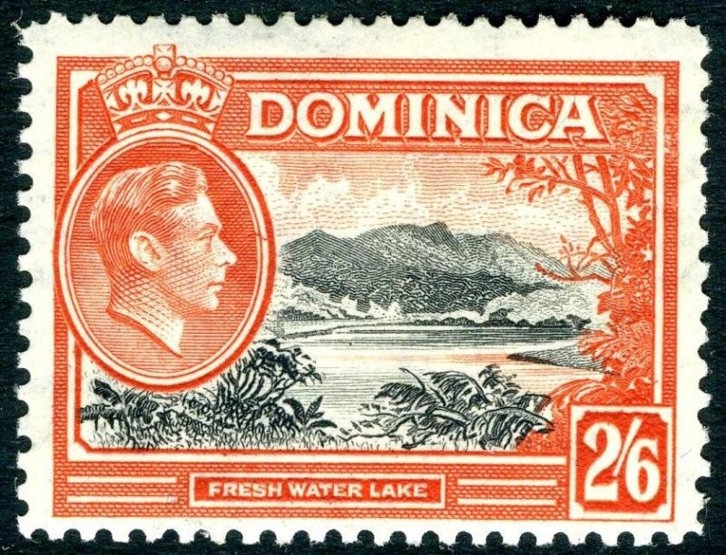DOMINICA-1938-47 2/6 Black & Vermilion Sg 107 AVERAGE MOUNTED MINT V15019