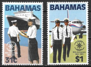 Bahamas 30th Anniversary Customs Cooperation set of 1983, Scott 536-537 MNH