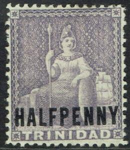 TRINIDAD 1879 BRITANNIA HALF PENNY OVERPRINT WMK CROWN CC REVERSED
