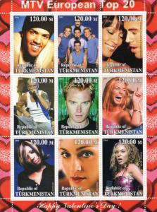 Turkmenistan 2001 Happy Valentine's Day Whitney Houston Enrique Iglesias Shlt(9)
