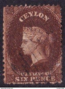 CEYLON 1863 QV 6d Sepia Perf 13 SG46 Used  CV£250
