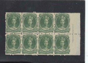 NOVA SCOTIA # 11 VF-MNH INSCRIPTION BLOCK OF 8 81/2cts GREEN CAT VAL $240