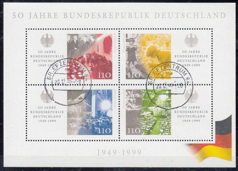 Germany - 1999 Anniversary of BRD Mi#  Bl.49 (9099)