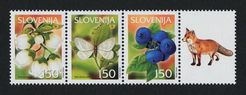Slovenia 504a + label MNH Fruit, Flowers, Insect, Bilberries